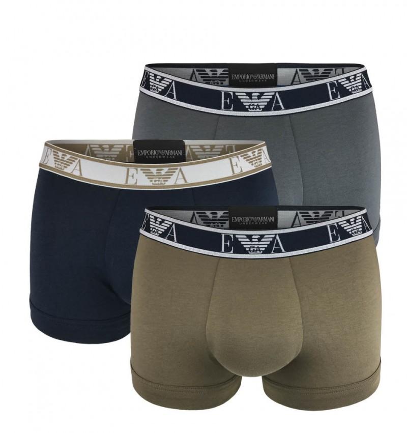 EMPORIO ARMANI - 3PACK stretch cotton antracite boxerky