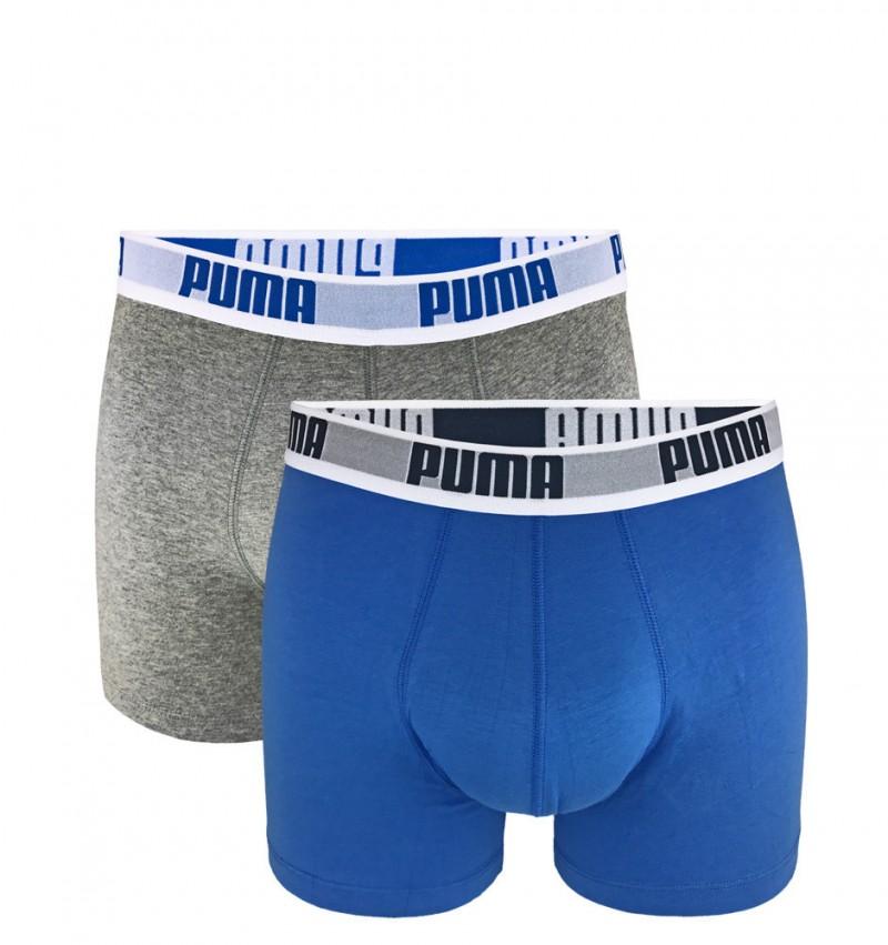 PUMA - 2PACK Basic sivé a svetlomodré boxerky