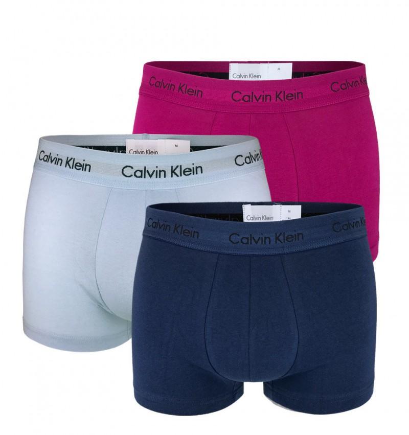 CALVIN KLEIN - 3PACK Cotton stretch blue multicolor boxerky