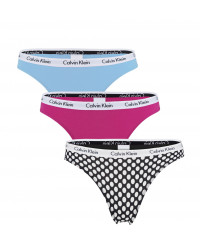 CALVIN KLEIN - 3PACK Cotton stretch dots dámske tangá - special limited edition