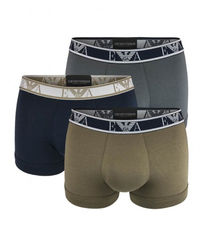 EMPORIO ARMANI - 3PACK stretch cotton antracite boxerky