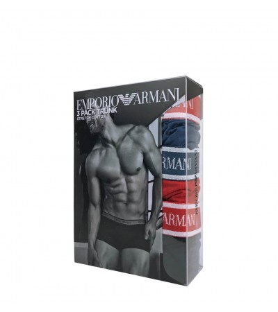 EMPORIO ARMANI - 3PACK stretch cotton cobalto boxerky