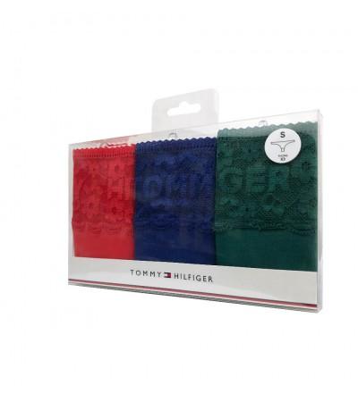 TOMMY HILFIGER - 3PACK logo lace tmavomodré, červené a zelené čipkované tangá