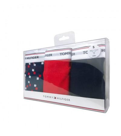 TOMMY HILFIGER - 3PACK Essentials tmavomodré, červené a vzorované tangá