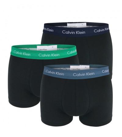 Calvin Klein - 3PACK Cotton stretch ocean čierne boxerky s farebným pásom