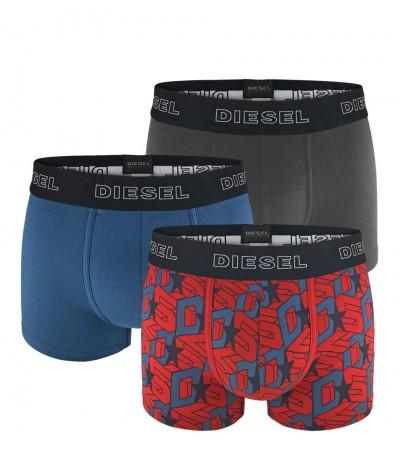 DIESEL - 3PACK Grid červené, modré a sivé boxerky1