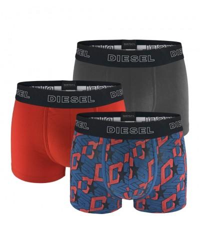 DIESEL - 3PACK Grid oranžové, modré a sivé boxerky1