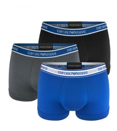 EMPORIO ARMANI - 3PACK stretch cotton modré boxerky