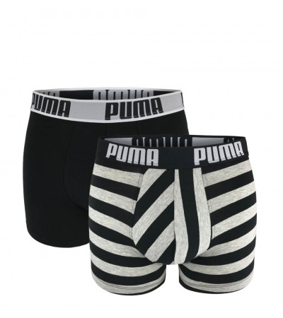 PUMA - 2PACK fashion stripe gray & black boxerky
