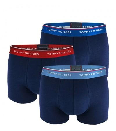 TOMMY HILFIGER - 3PACK premium essentials modré boxerky s farebným pásom