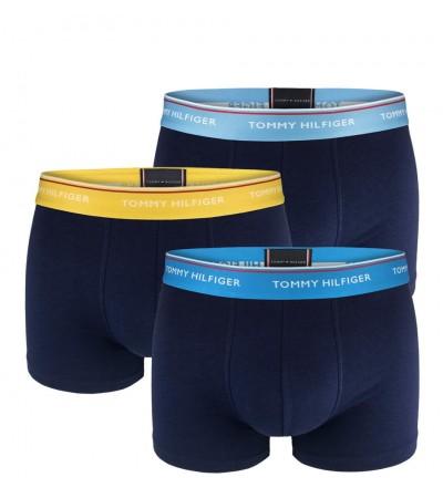 TOMMY HILFIGER - 3PACK Premium essentials modré boxerky s farebným pásom 1