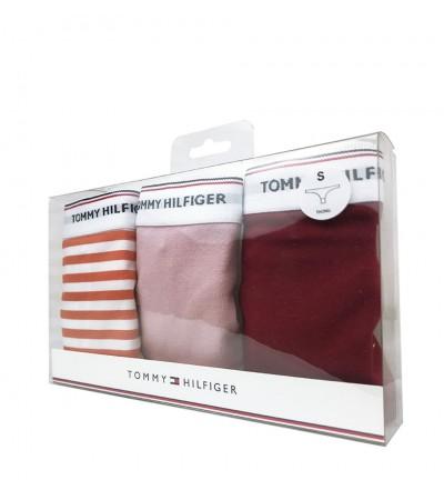 TOMMY HILFIGER - 3PACK Essentials pásikavé, červené a svetloružové tangá