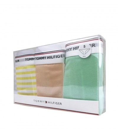 TOMMY HILFIGER - 3PACK Essentials dámske svetlozelené, žlté a svetloružové nohavičky1