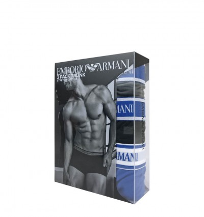 EMPORIO ARMANI - 3PACK stretch cotton modré boxerky