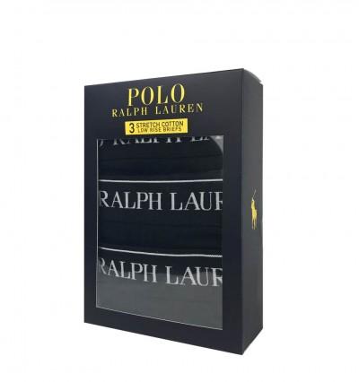 POLO RALPH LAUREN - 3Pack čierne slipy