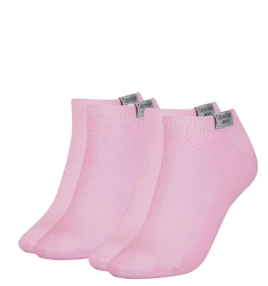 CALVIN KLEIN - 2PACK CK jeans pink členkové ponožky z organickej bavlny-UNI