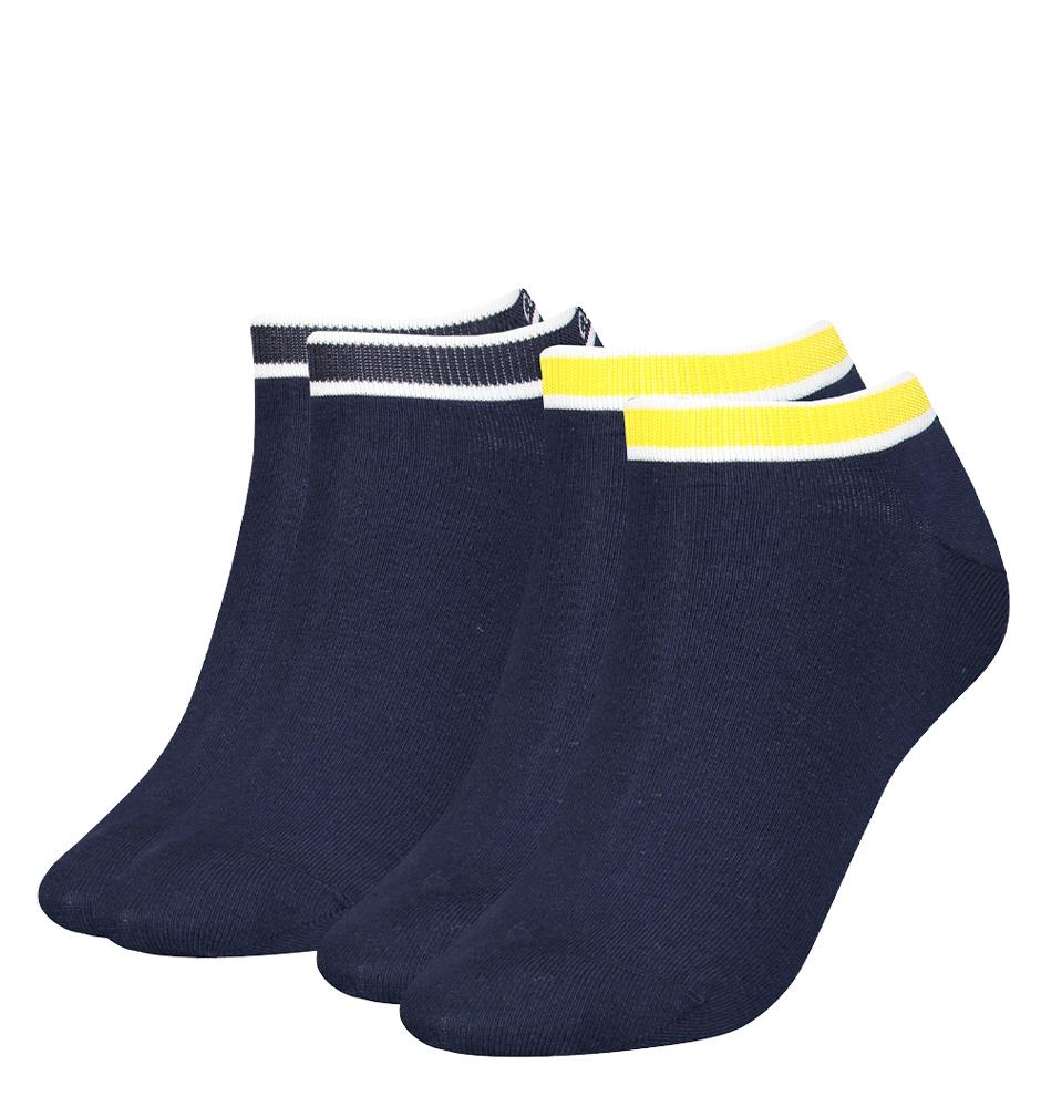 CALVIN KLEIN - 2PACK CK logo cotton navy combo členkové ponožky -UNI