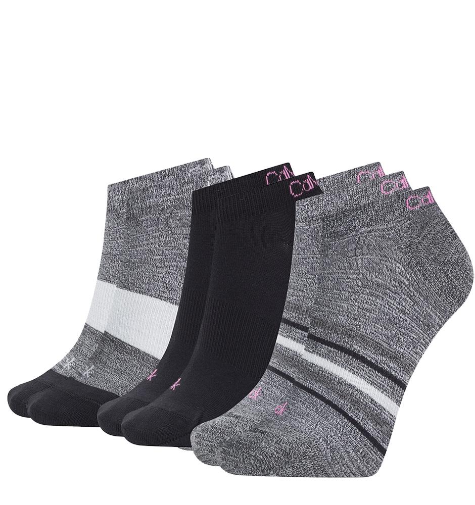 CALVIN KLEIN - 3PACK gray combo clare členkové ponožky z organickej bavlny -UNI