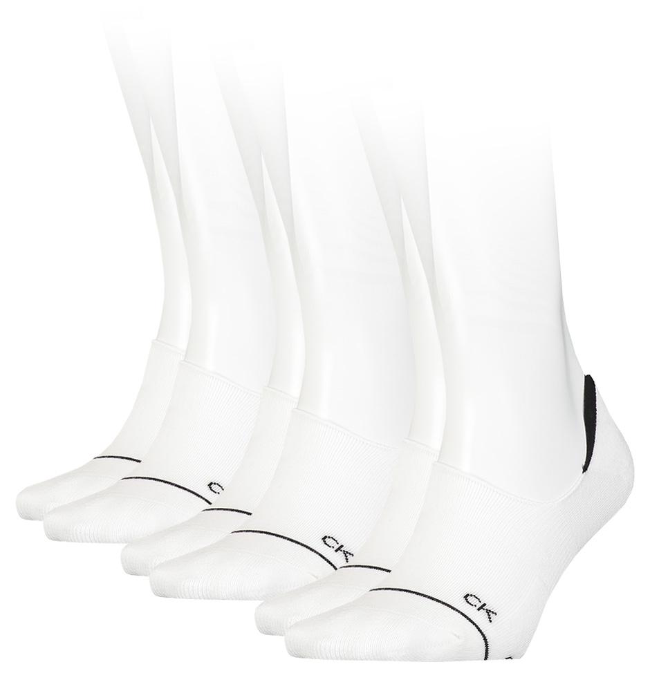 CALVIN KLEIN - 3PACK athleisure ruby white neviditeľné ponožky-UNI