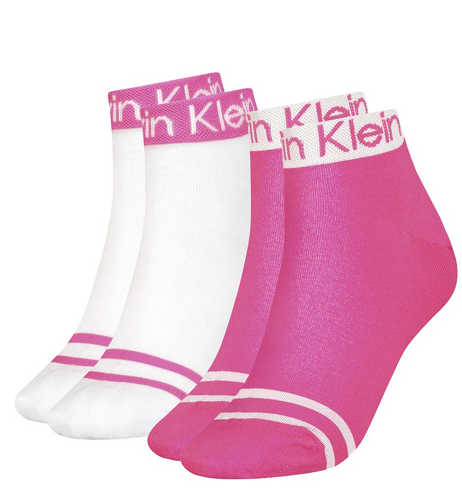 CALVIN KLEIN - 2PACK pink combo quarter ponožky-UNI